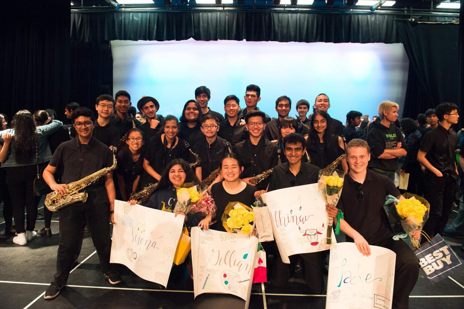 CHS Marching Band saxophone section celebrates their graduating seniors at the visual concert. Picture taken by Audrey Hou.