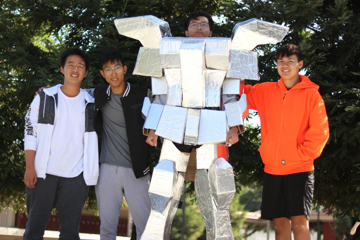 Left to right: Kevin Chen, Eric Lee, Yeongbok Lee, and Colin Rich, the four creators of the costume.
